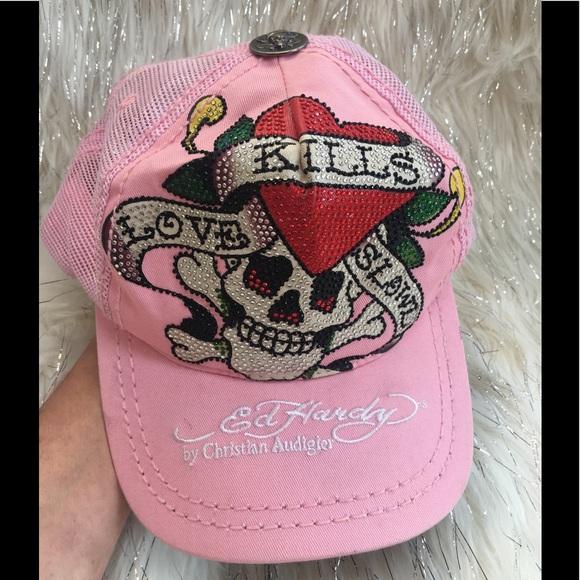 cdcf9b7656b Ed Hardy Accessories - Ed hardy pink trucker hat rhinestones
